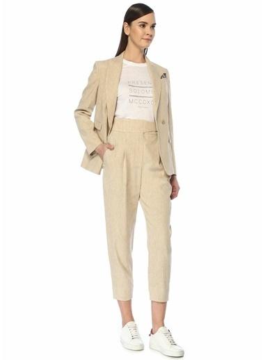 Brunello Cucinelli 101489032 Yüksek Bel Pili Detaylı 4 Cepli Kadın Pantolon Bej